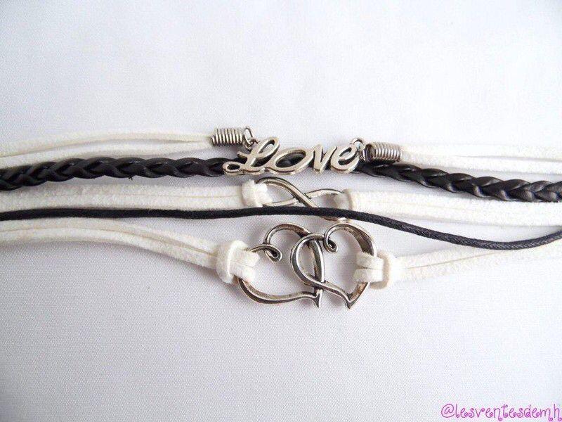 983b5b0679 Bracelet ~ Love cœur infini ~ Noir et blanc ~ Neuf