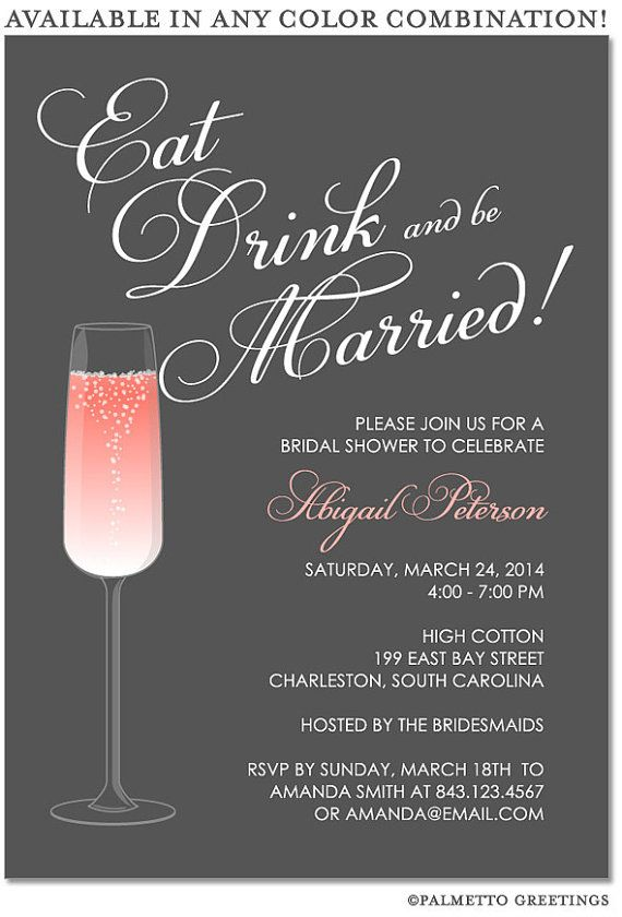 printable eat drink and be married happy hour champagne bridal shower engagement party