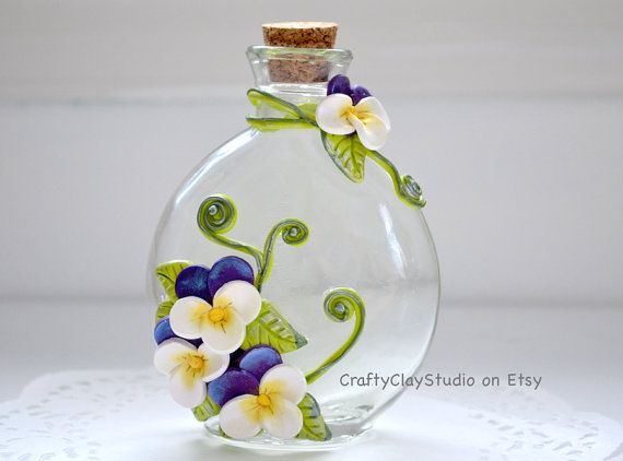 Decorated Bottle Embellished Bottle Flower by CraftyClayStudio