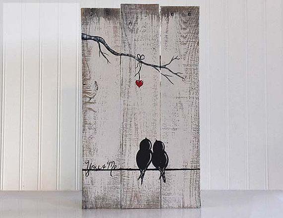 Rustic Wood Sign Reclaimed Wood Art Love Birds Sign Rustic