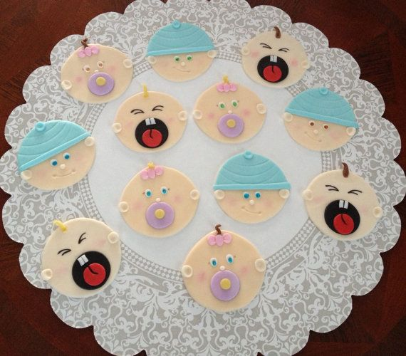 Baby Shower Fondant Cupcake Cookie Topper By Livcreativity On Etsy