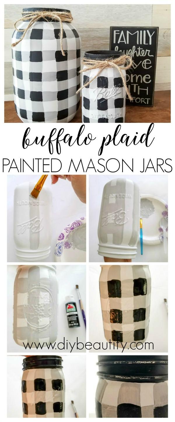 Painted Buffalo Plaid Mason Jars
