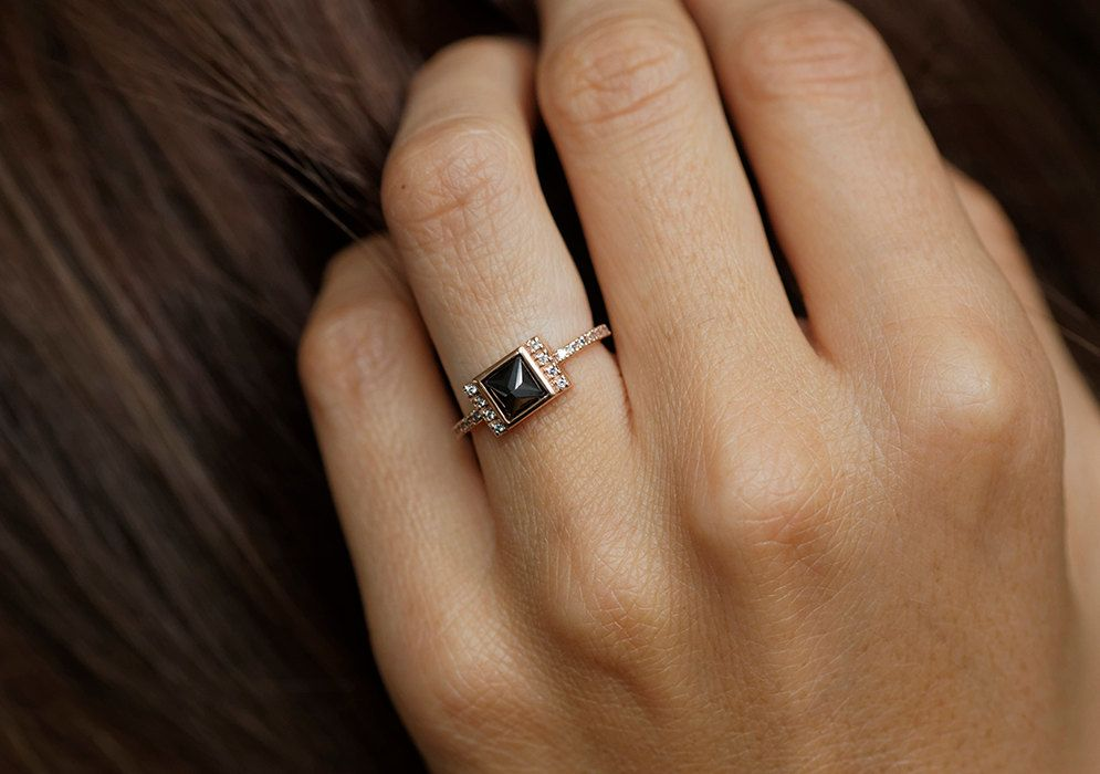 Rose Gold Diamond Engagement Ring Rose Gold Black by MinimalVS