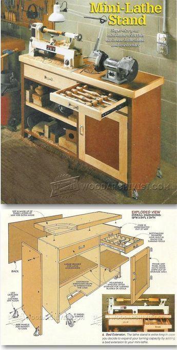 Mini Lathe Stand Plans - Lathe Tips, Jigs and Fixtures | WoodArchivist.com