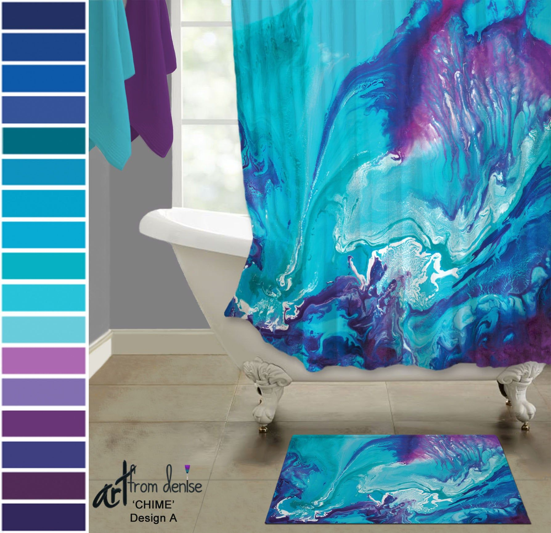 Aqua blue and purple shower curtain and bath rug sets ...