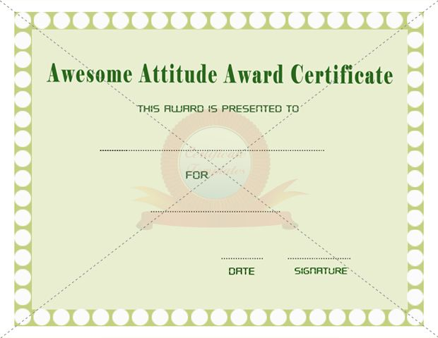 Awesome Attitude Certificate  Award Certificates