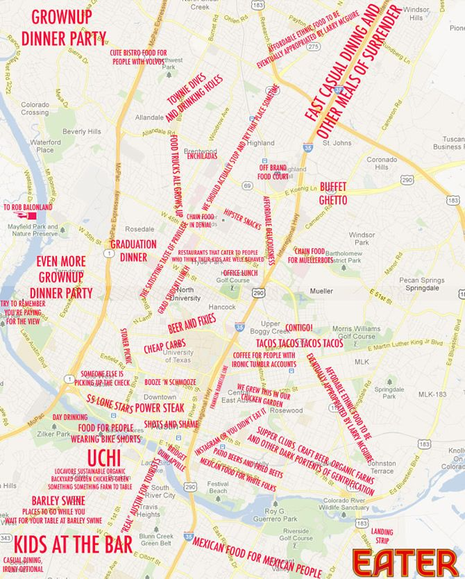 The Judgmental Austin Food And Drinks Map | Austin food, Texas and ...