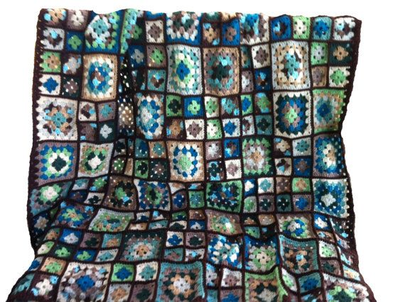Crochet afghan granny square afghan, shades of earth, sea, and sky ...
