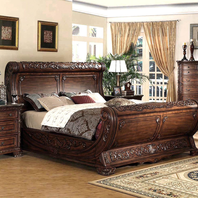 Cannes Gondola Sleigh Bed - Carvings, Dark Cherry  Sleigh bedroom