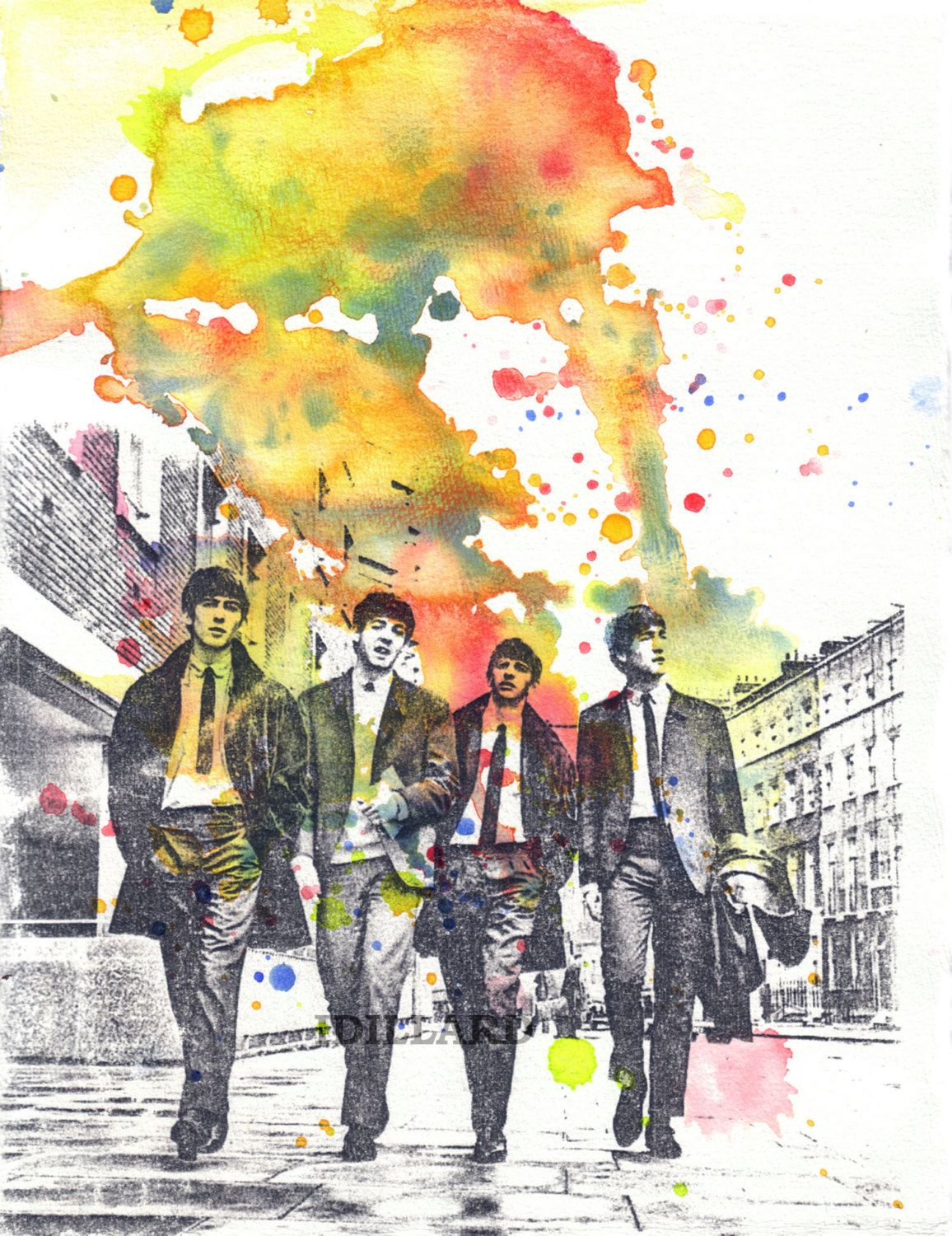 The Beatles Watercolor Painting Print - Fine Art print 8 X 10 in ...