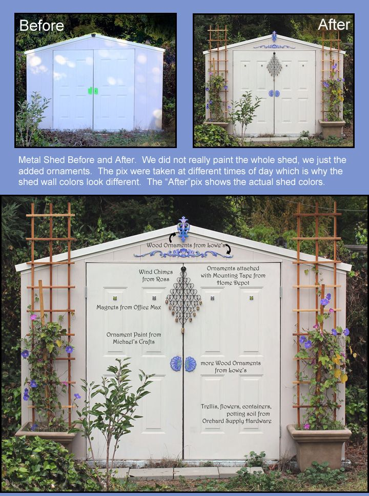 metal garden shed makeover cheap and easy