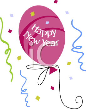 royalty free clip art image of a happy new year balloon