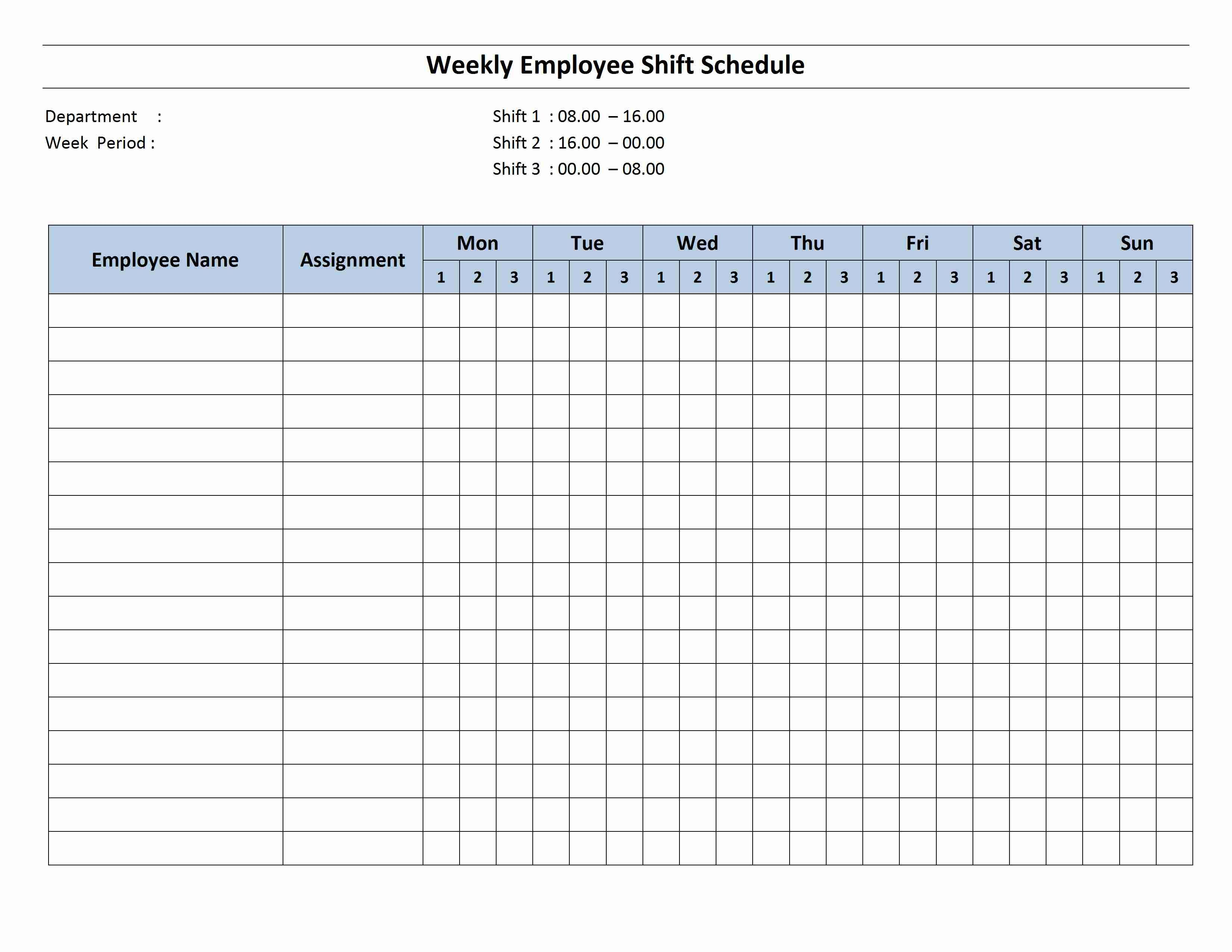 Free Monthly Work Schedule Template