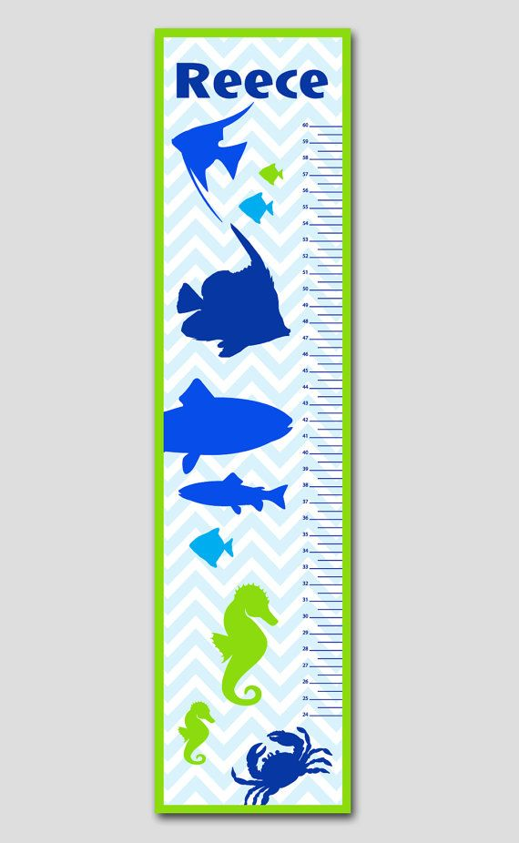 Personalized Fish Under The Sea Growth Chart Vinyl Print Growth