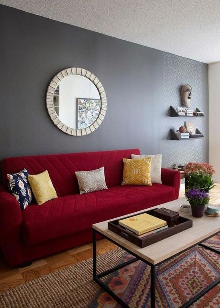New Ideas Living Room Decor With Red Sofa