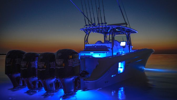 Stacked center console with quads and sick underwater for Fishing boat lights