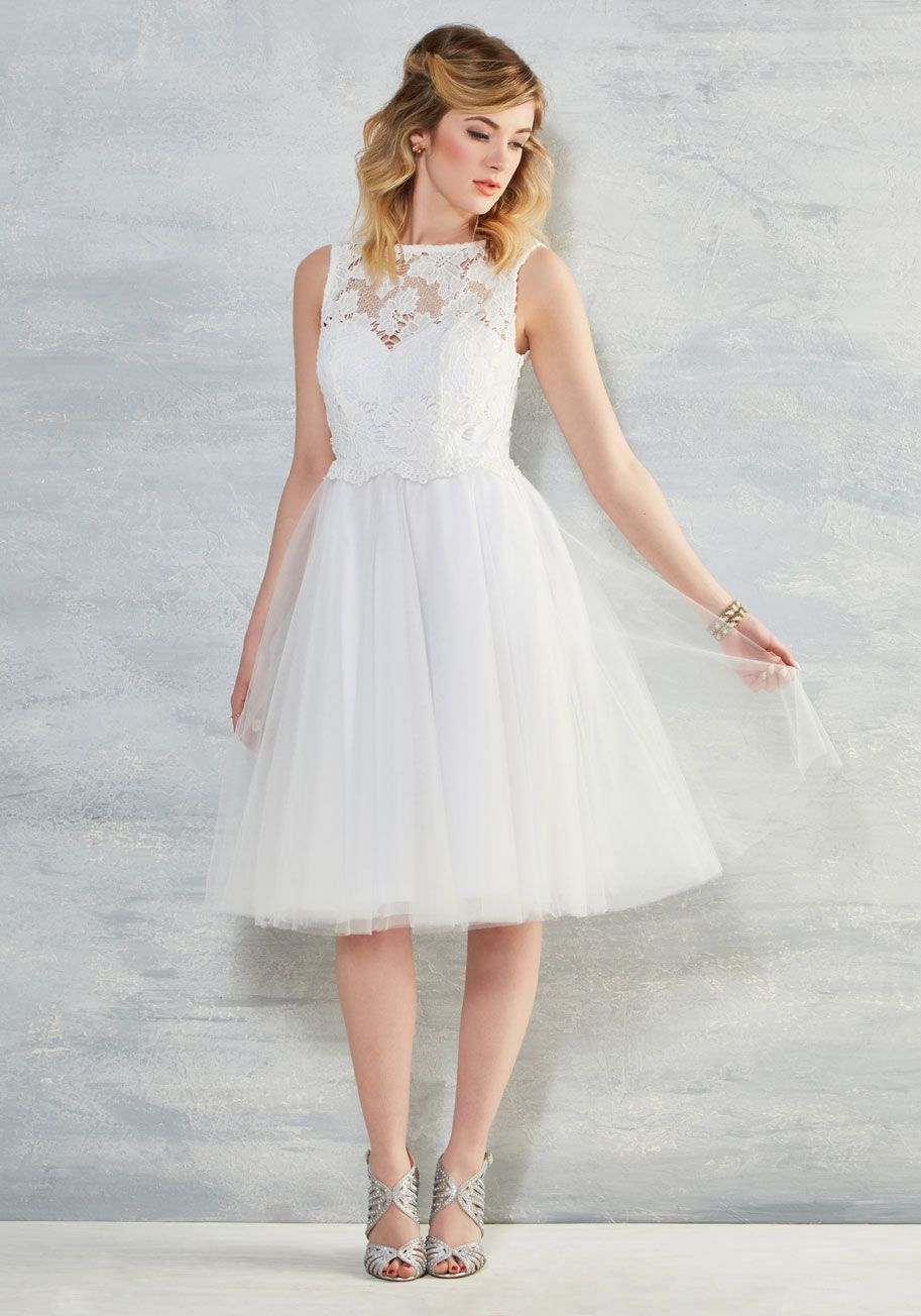 In This White Midi Part Of Our Modcloth Namesake Label You Look And Feel Fit For A Fairytale On Your Special Day That's 'awe' Need: Midi Wedding Dress Illusion At Reisefeber.org