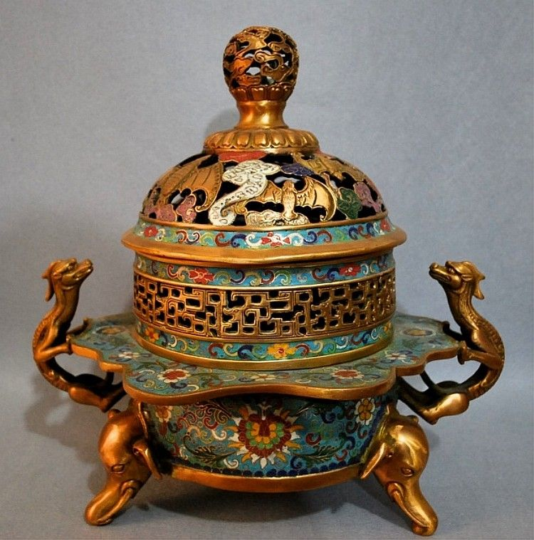 """Chinese Imperial Cloisonne Enamel Incense Burner13 3/4 x 10 1/4 x 14 1/2""""Four Characters at Bottom"""