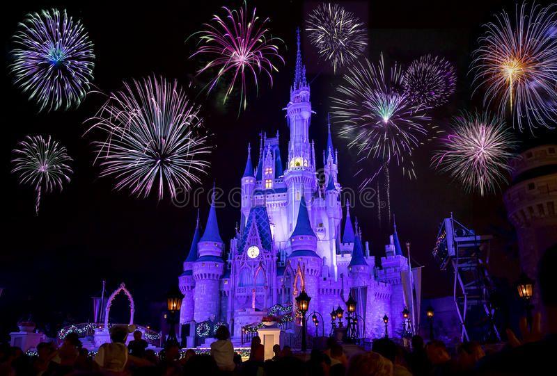 Disney S Cinderella Castle With Fireworks Disney S Magic Kingdom Cinderella Castle At Night Li Magic Kingdom Fireworks Fireworks Photography Disney Fireworks