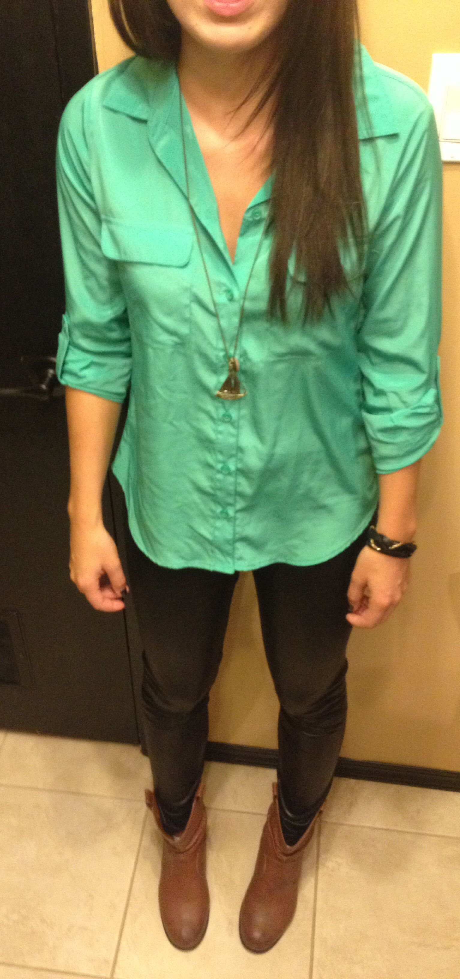 Mint Green Dress Shirt Leather Leggings And Brown Boots Topped Off With Gold Black Accessories Mint Green Dress Shirt Leather Leggings Black Accessories