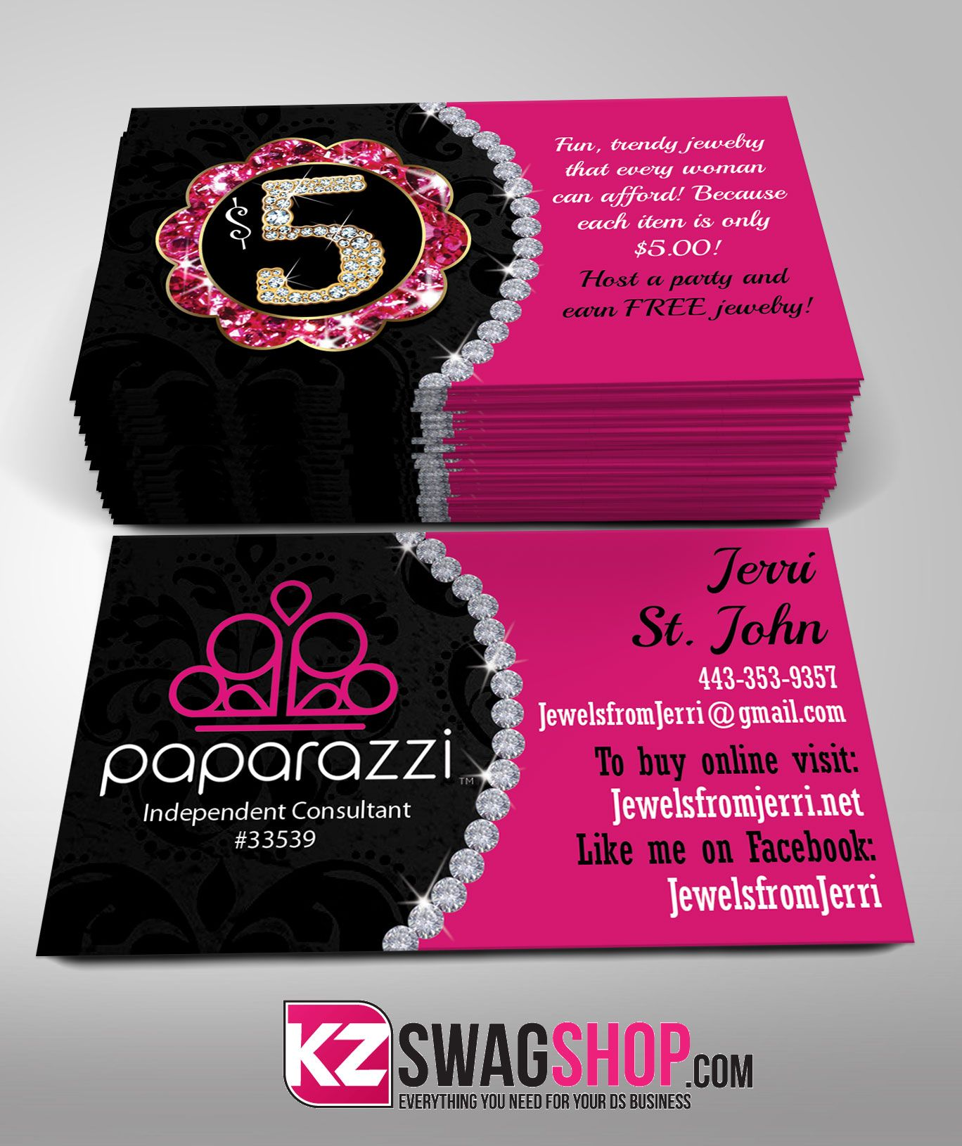 Paparazzi Business Cards style 3 from KZ Creative Services ...