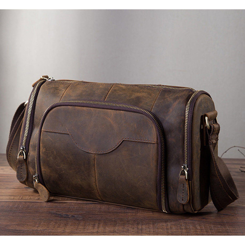 cdb9b41bd6 Genuine Leather Antique Bags Real Leather Messenger bag Vintage Satchel  Crossbody One Shoulder bag School Book