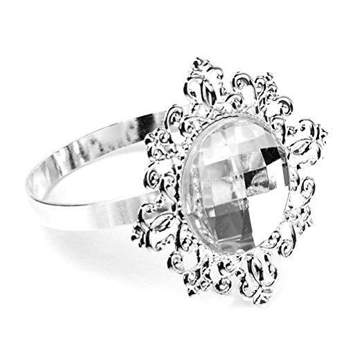 12Pcs Floral Napkin Ring Acrylic Napkin Holder Ring for Xmas Wedding Party Decor