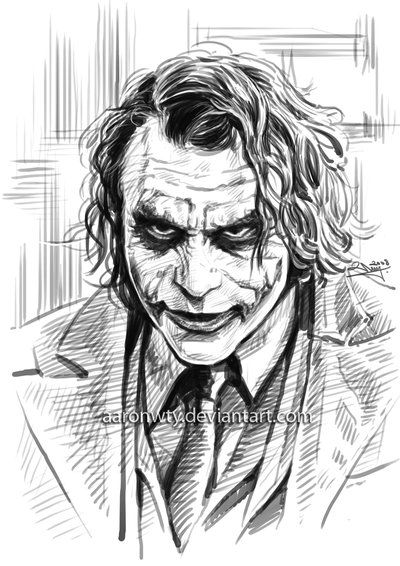 Heath Ledger As The Joker By Aaronwty On Deviantart Joker Sketch Joker Drawings Joker Art Drawing