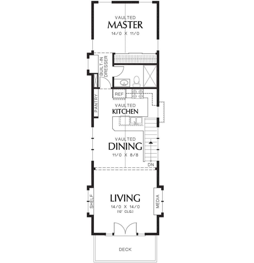 House Plan 2559 00204 Narrow Lot Plan 1 203 Square Feet 2 Bedrooms 2 Bathrooms Narrow House Plans Narrow House Designs One Level House Plans