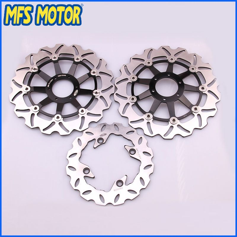 Front Rear Brake Discs Rotor For Honda Motorcycle Part CBR600 F4 1999 2000 99 00 CBR 600 Black