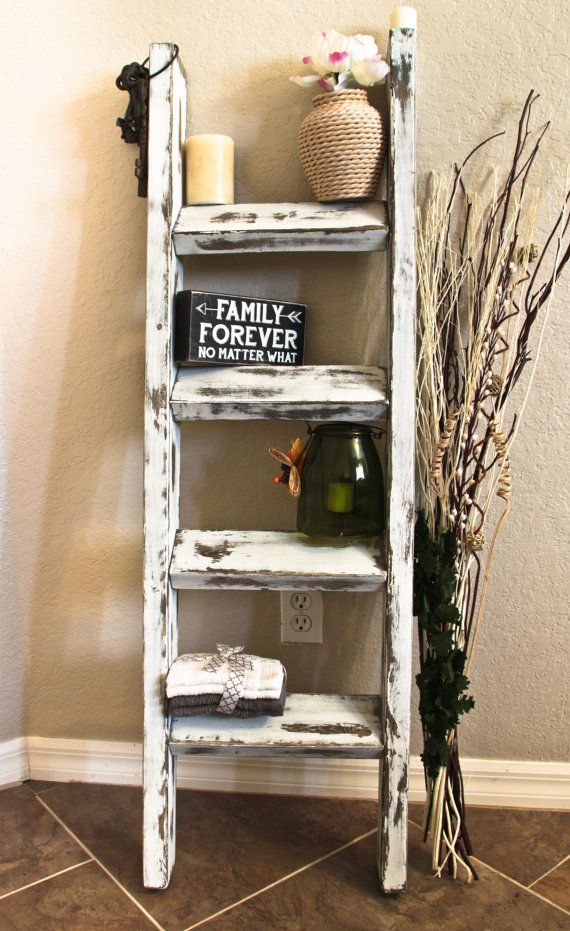 Amazing Living Room Cabinet Designs Antique Showcase Using: Amazing Rustic Antique White Blanket Ladder By