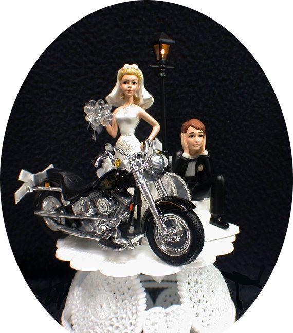Wedding Cake Topper W Die Cast Harley Davidson By Yourcaketopper 67 80 Wedding Cake Toppers Happy Marriage Anniversary Bridal Cake Topper