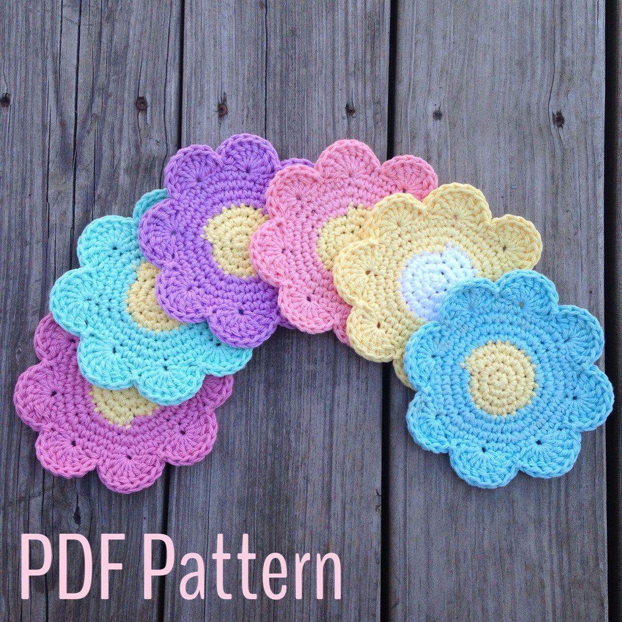 Crochet Flower Coaster Pattern, Crochet Pattern Instant Download PDF ...