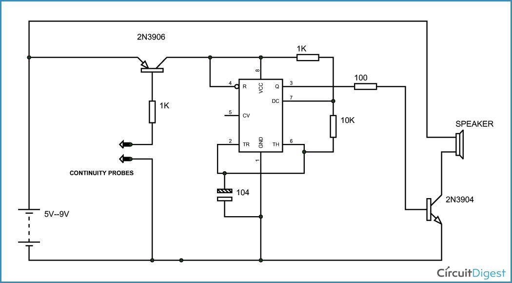 simple continuity tester circuit using 555 timer electronics