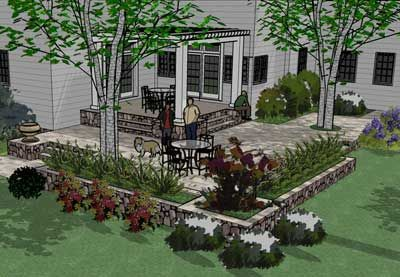 Here is a two level bluestone patio picture. Note the trees set in the patio! This patio was done in bluestone, has built in planters and a pergola. http://www.landscape-design-advice.com/patio-pictures.html
