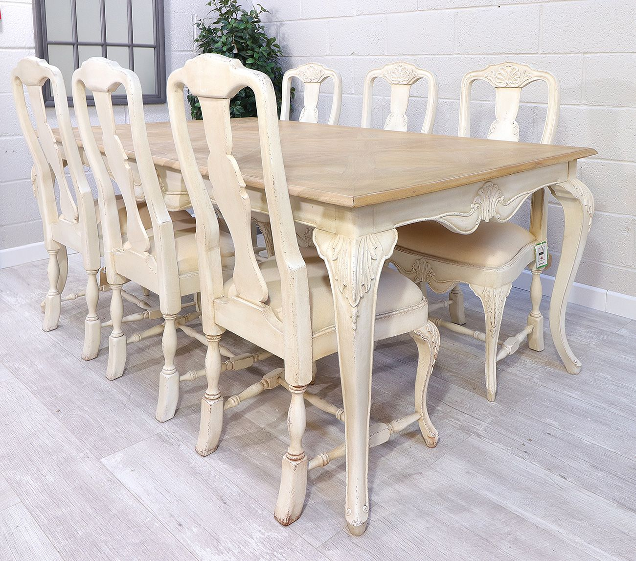 French Chateau Ivory Medium Dining Table And 6 Chair Set Buy