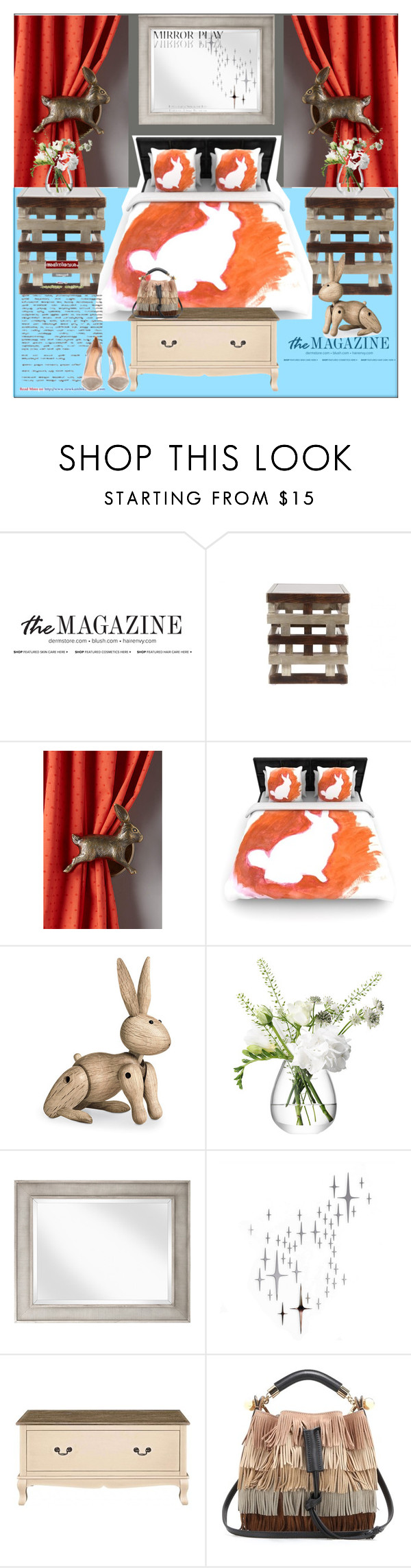 """""""Bunny Bedroom"""" by frenchfriesblackmg ❤ liked on Polyvore featuring interior, interiors, interior design, home, home decor, interior decorating, Jayson Home, Kay Bojesen, LSA International and DOMESTIC"""