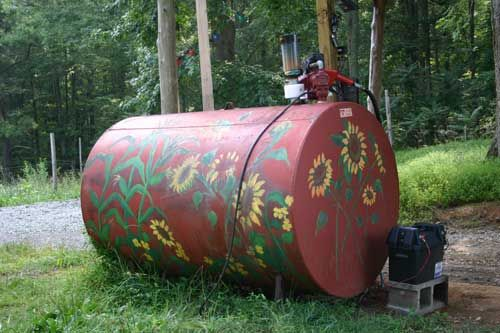 paint the above ground farm fuel tank