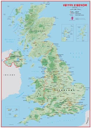 UK Wall Map Physical This large physical wall map of the United