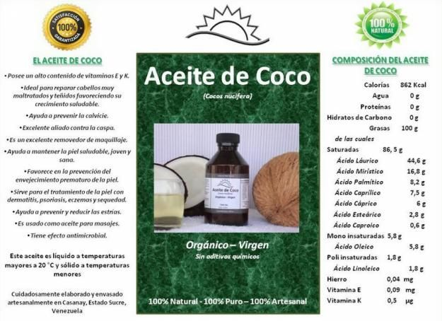 Aceite De Coco Organico Virgen Comestible 100 Natural 100 Puro