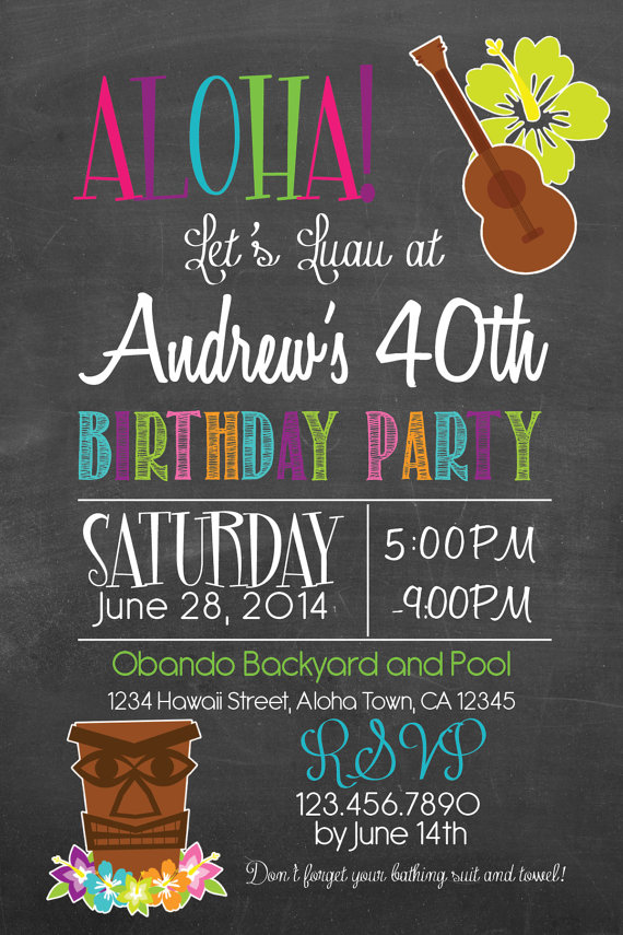 Printable Hawaiian Luau With Tiki 30th 40th 50th By PuzzlePrints Hawaien Party