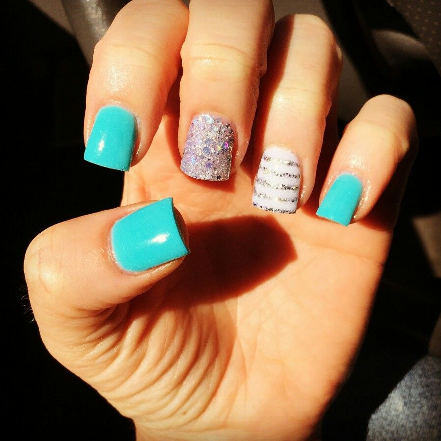 Turquoise Silver White Silver Stripes Acrylic Nails Nails