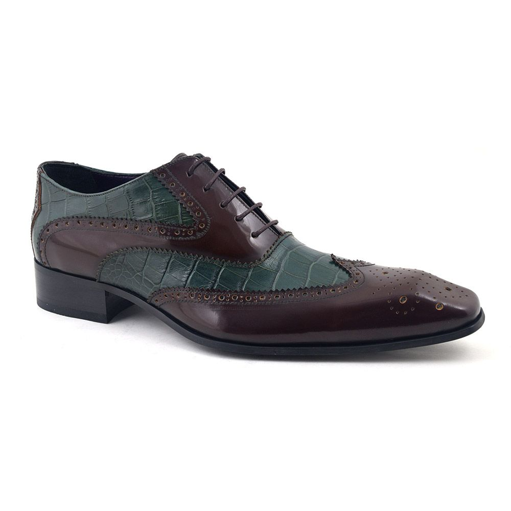 37daa0c63e8 Funky green and brown oxford brogues to stand out in. Be original in Gucinari  mens shoes.