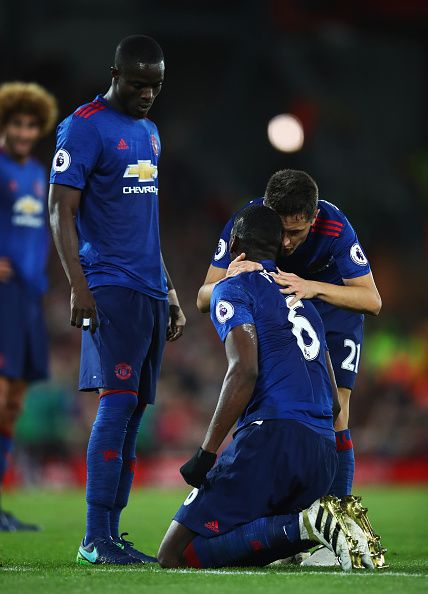 ander herrera of manchester united talks to paul pogba of