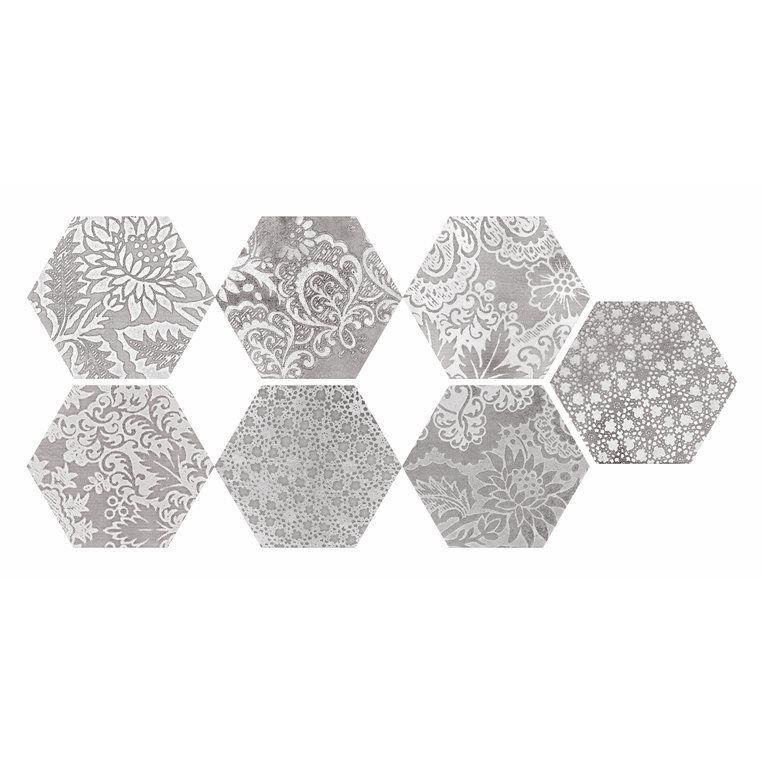 Faber Moroccan 10 In X 12 In Decorative Silver Hexagon Porcelain Floor Tile Tile Floor Porcelain Flooring Hexagon Tiles