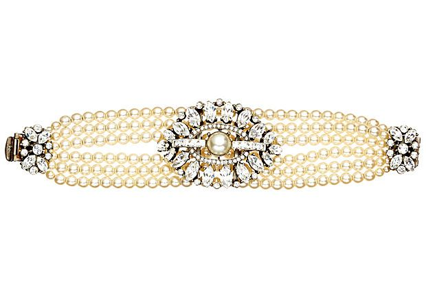 Pearl and Crystal Pendant Bracelet on OneKingsLane.com