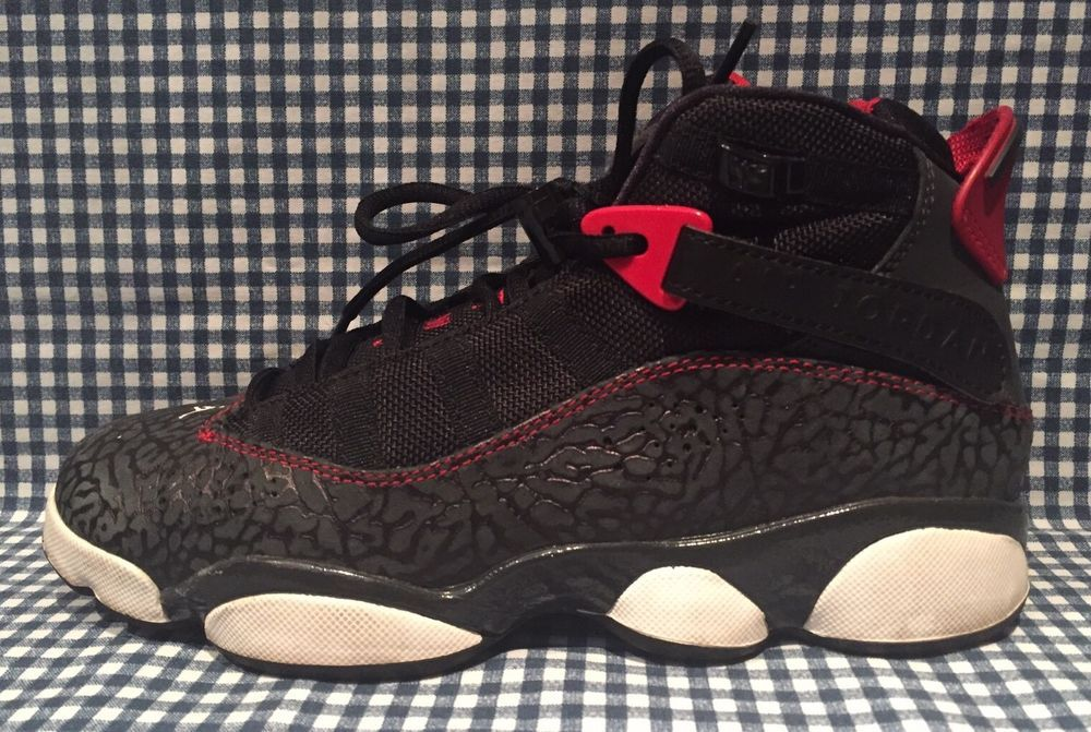 415ed29d3dc51c Air Jordan VI 6 Rings GS Bred Elephant Basketball Sneakers Size 5.5Y  323419-020