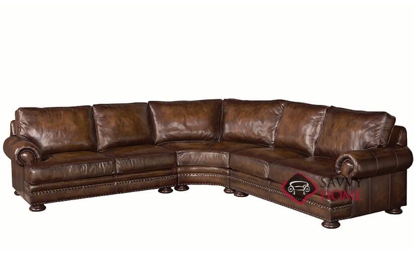 Brilliant Foster Leather True Sectional Sofa With Down Blend Cushions Home Remodeling Inspirations Basidirectenergyitoicom