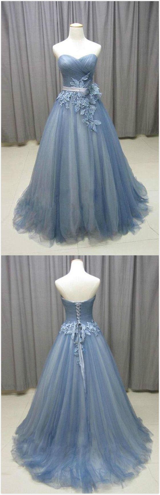 Gray blue prom dresstulle prom dresssimple aline prom dresscheap