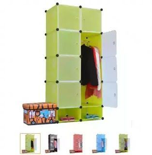 Wardrobe Plastic Hanging Two Door Appliance Furniture …- L…